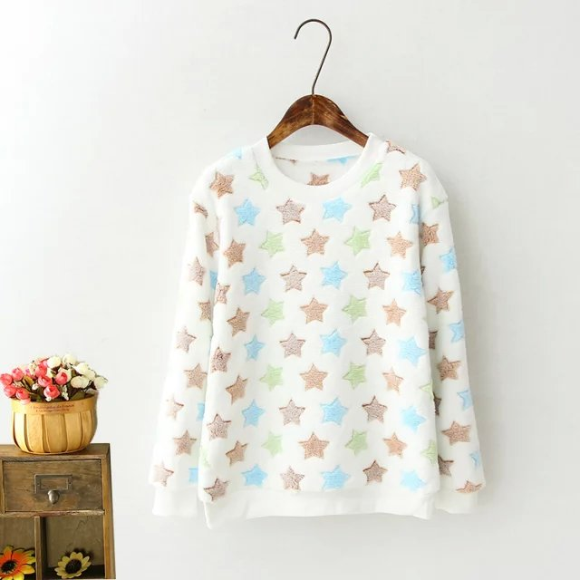 Fashion Women winter thick White Star print pullover ...