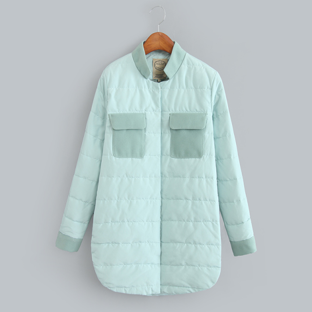 Fashion Women Winter warm Blue Down patchwork woolen stand collar button pocket Casual brand parkas