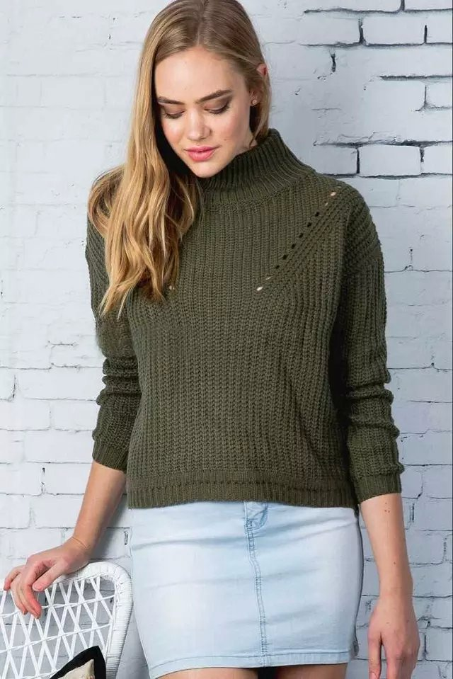 Fashion Women Winter warm green hollow out Pullover ...