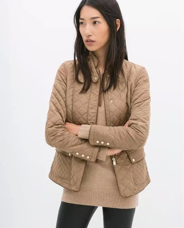 Fashion Women Winter warm Khaki cotton PU patchwork pocket parkas stand collar zipper long sleeve Casual brand coats