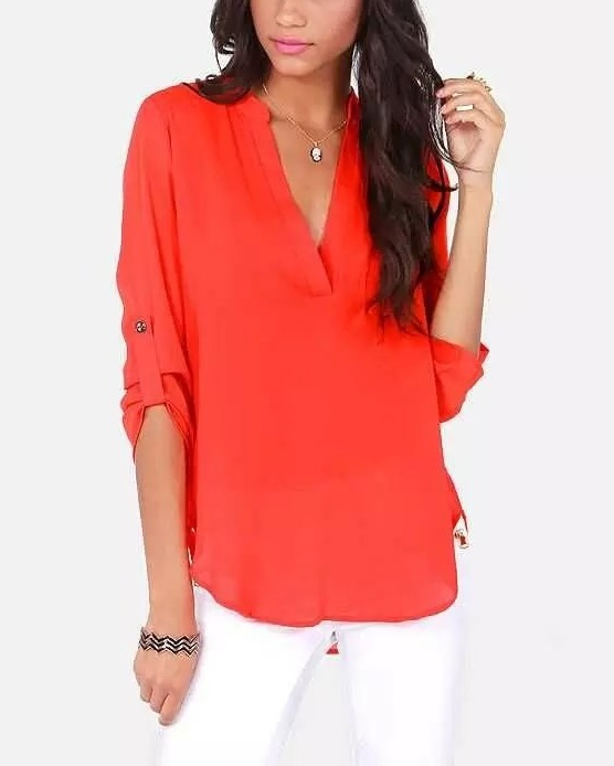 Fashion Women Work Office Brief Elegant long blouses ...