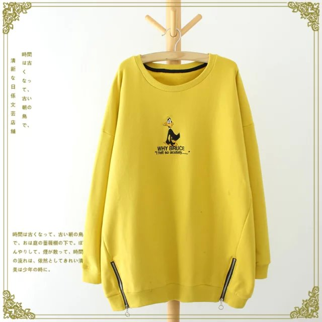 Fashion women yellow Cartoon Letter Embroidery side ...