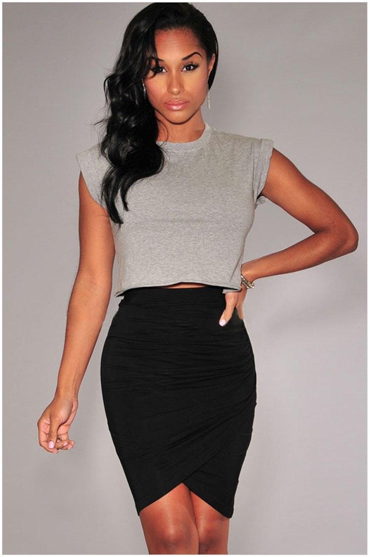 fashion womens business suit stretch Irregular skirts ...
