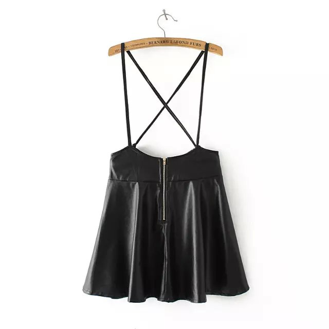 Fashion Womens Elegant strap Faux Leather Black Skirt ...