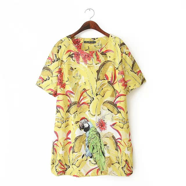 Fashion XXXL plus size Women Elegant floral leaf bird ...