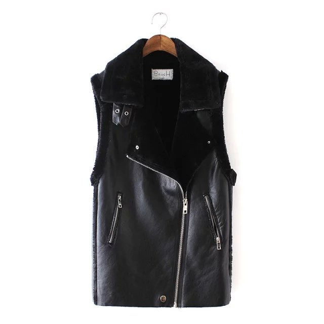 Faux leather for Women black Punk style Vest winter ...