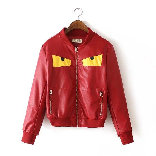 Faux leather jacket for women Fashion Autumn Cartoon ...
