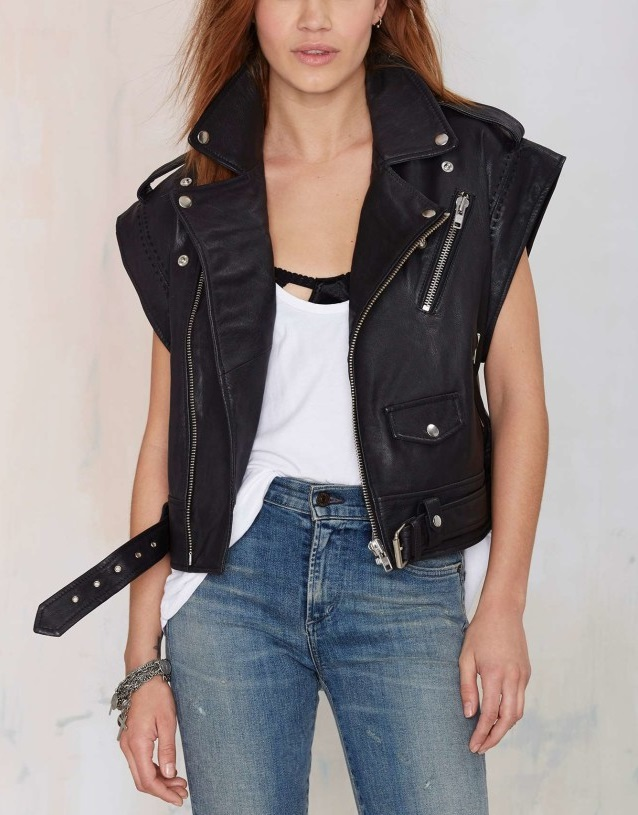 Faux Leather vest Jacket for Women Fashion Europe Rivet ...
