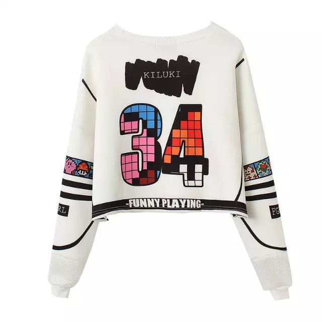 Female short Sweatshirts Fashion Letter number personality ...
