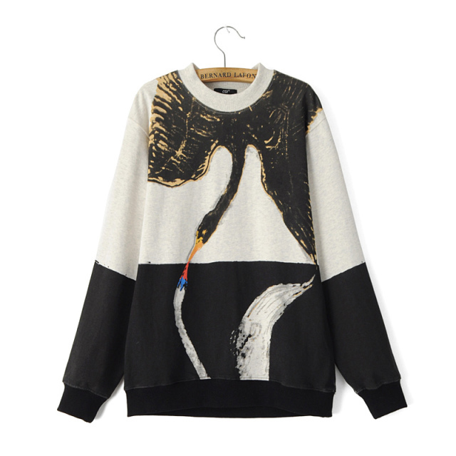Female Sweatshirts Fashion Black white Patchwork Swan ...