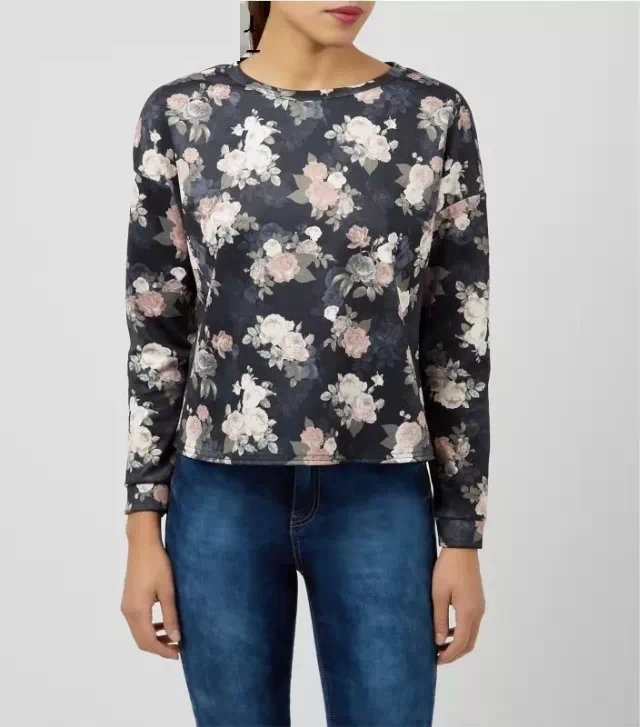 Female Sweatshirts Fashion Floral pattern black O Neck ...