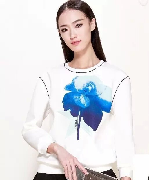 Female Sweatshirts Fashion Orchid Pattern O Neck White ...