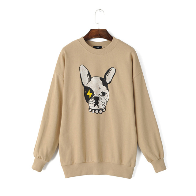 Female Sweatshirts Fashion punk sport dog pattern Khaki ...