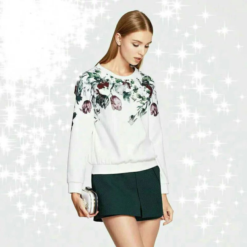Female Sweatshirts Fashion white Floral print O-Neck ...