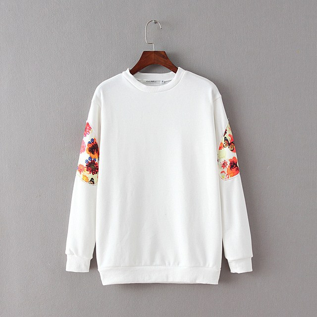 Female Sweatshirts Floral Pattern Patch long sleeve ...