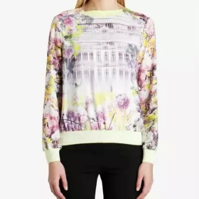Female Sweatshirts Floral Pattern stripe Patchwork Neck ...