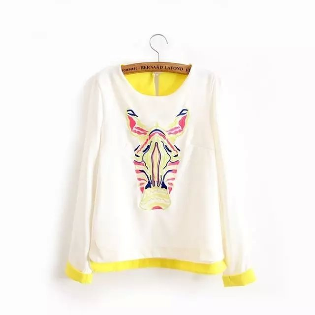 Female Sweatshirts Korean Fashion zabra embroidery O ...