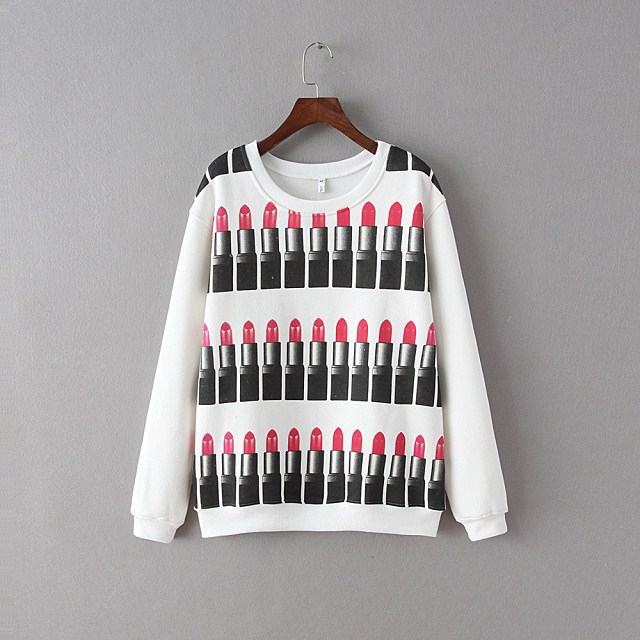 Female Sweatshirts Lipstick Pattern O neck Plus thick ...