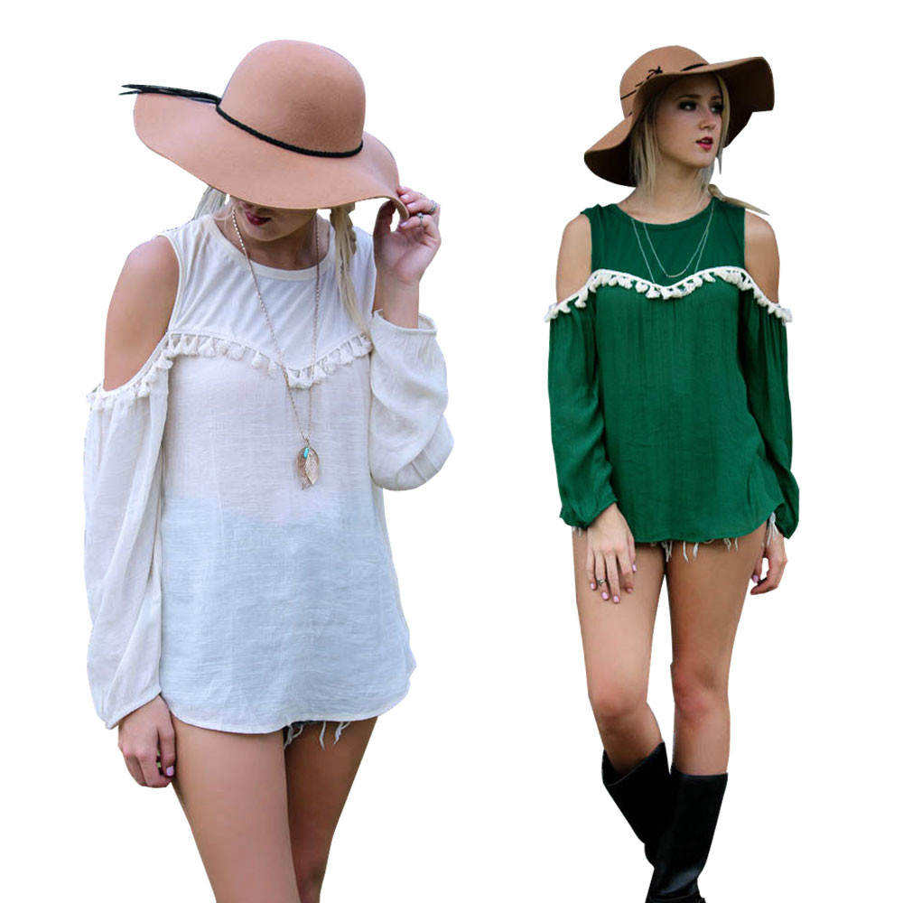 Feshion women elegant white green tassel long sleeve ...