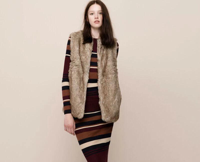 Fur vest Jacket for Women Fashion Khaki winter Thick ...