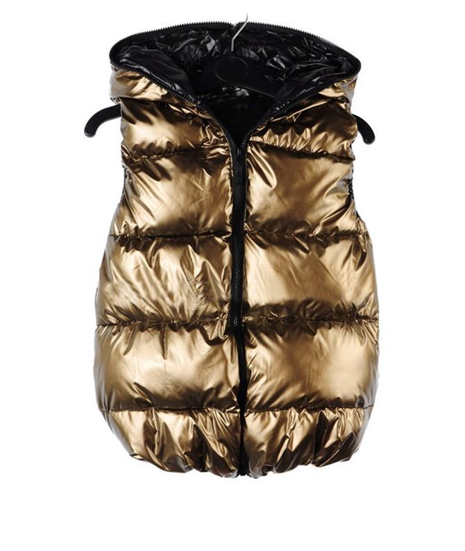 Hot Women Winter thick warm Fashion Waistcoat Gold Cotton ...