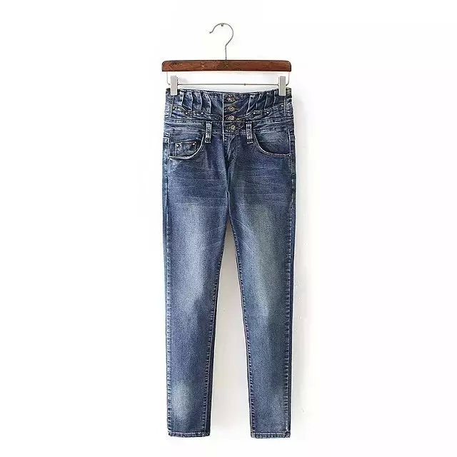 Jeans for Women Fashion button zipper high Waist plus ...