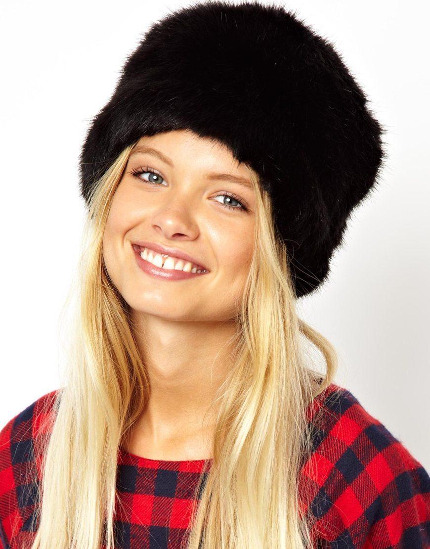Knit Faux Fur Hat Nature Rabbit fur Cap Headgear Headdress ...