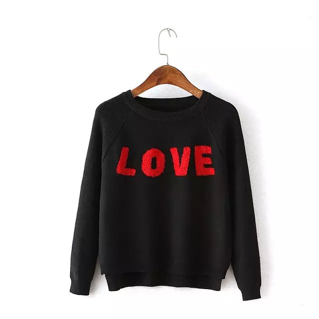 Knitted Black Sweaters for women Autumn fashion O-Neck ...