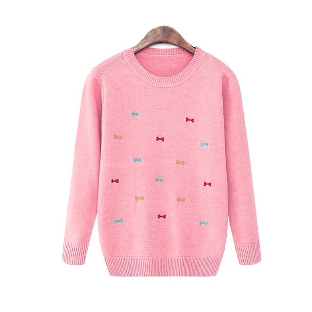 Knitted sweaters for women Fashion Sweet pink Bow Embroidery ...