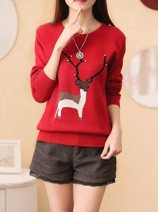 Knitting Sweater for women Autumn fashion red pullovers ...