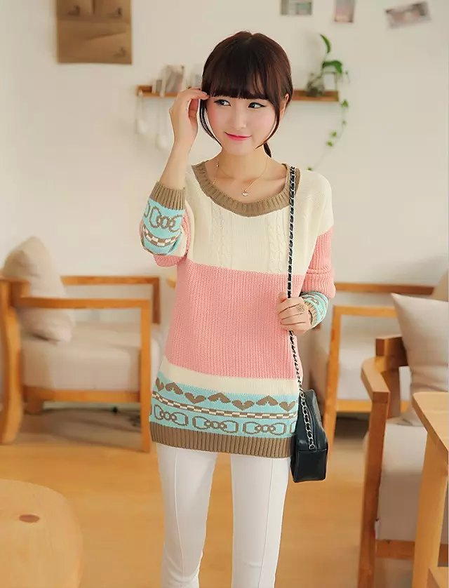 Knitting sweaters for women Autumn Fashion Candy colors ...