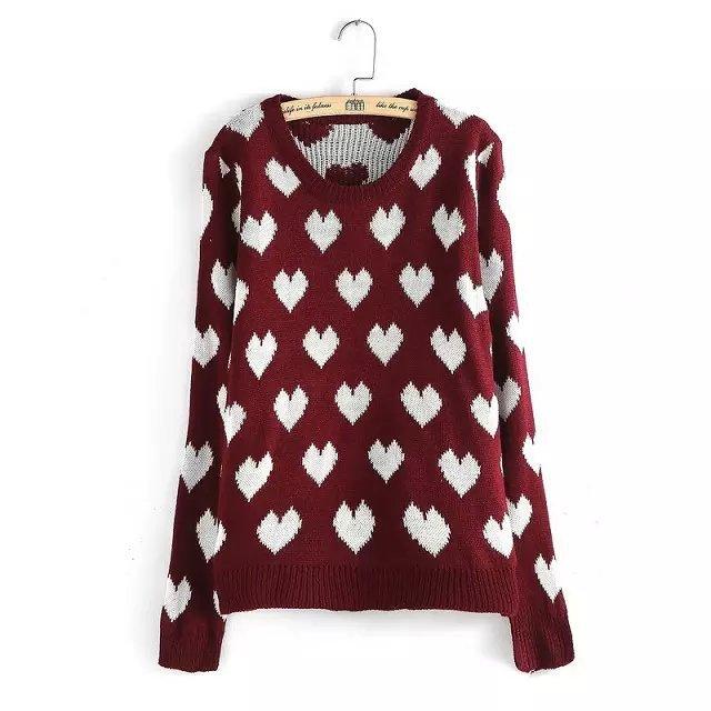 Knitting sweaters for women Autumn Fashion Heart Pattern ...