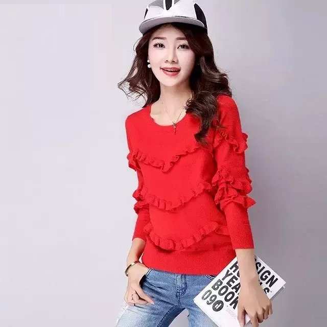 Knitting sweaters for women Autumn Fashion Ruffles Red ...