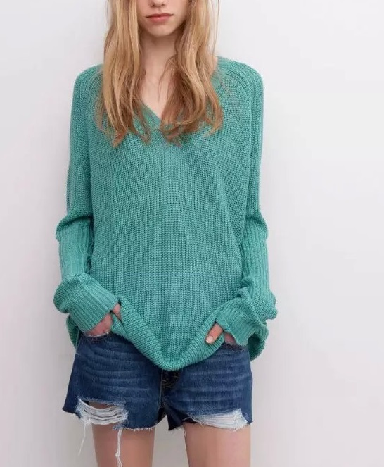 Knitting sweaters for Women Autumn Fashion Solid V Neck ...