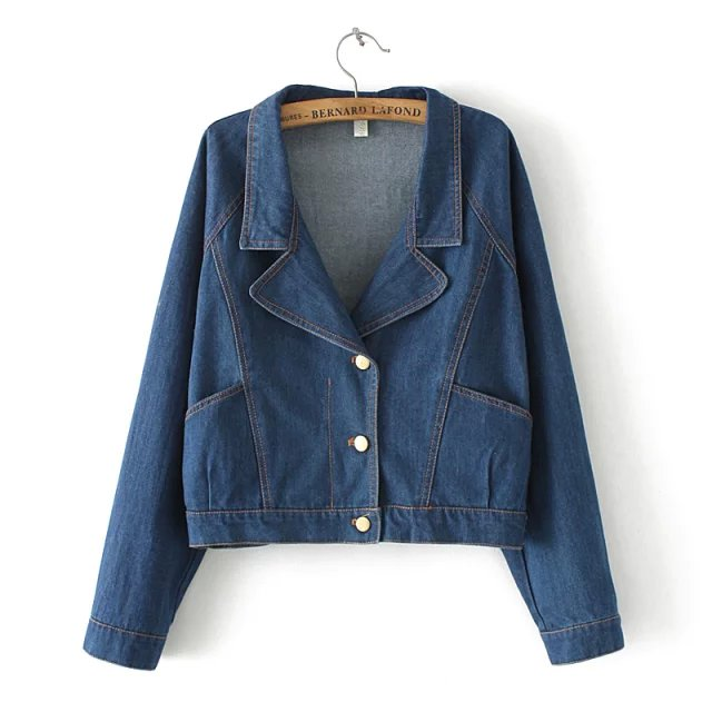 Korean Fashion Women Elegant Blue Denim Turn-down Collar ...