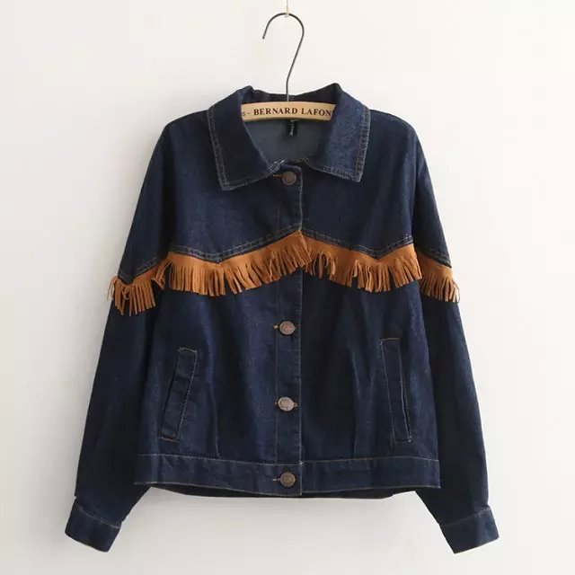 Korean style Fashion women blue denim Tassel pocket ...