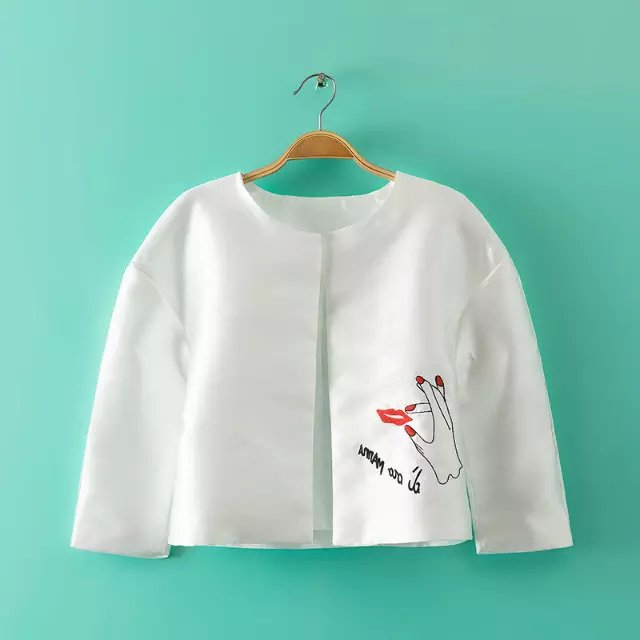 Korean style short jacket for Women outer wear Graffiti ...