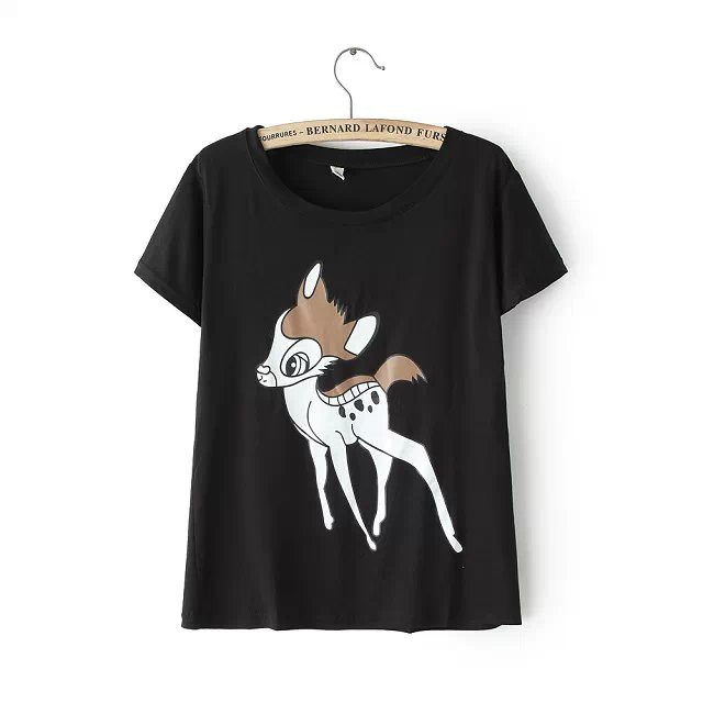 New Fashion Ladie deer print black cotton T-shirt for ...