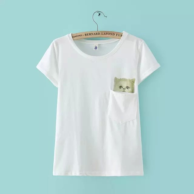 New Fashion Women Elegant Cat Print pocket white cotton ...