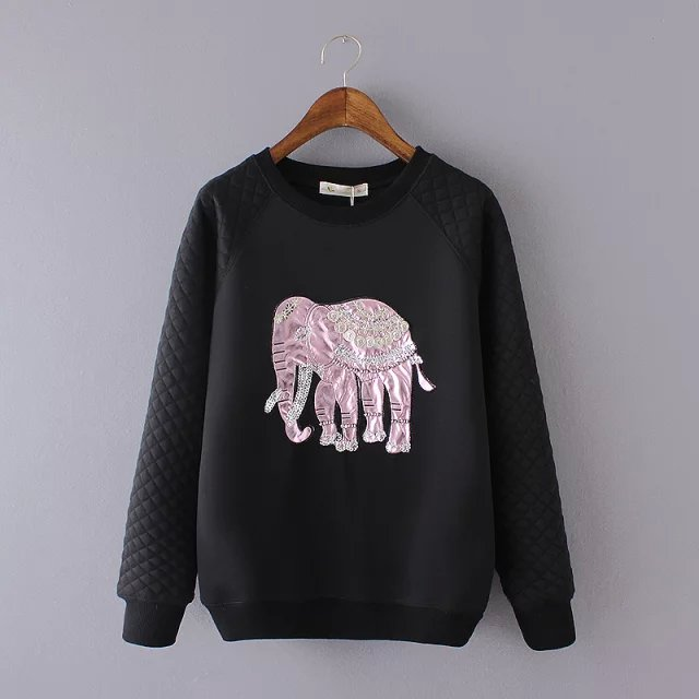 New Fashion Women silver elephant Embroidery pullover ...