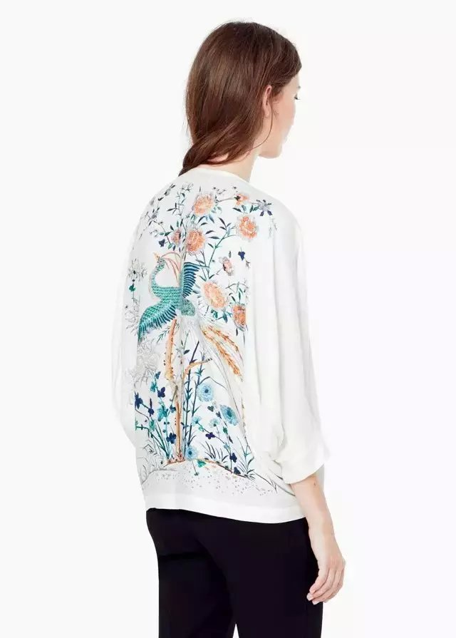 New Fashion Women white floral bird print blouses shirt ...