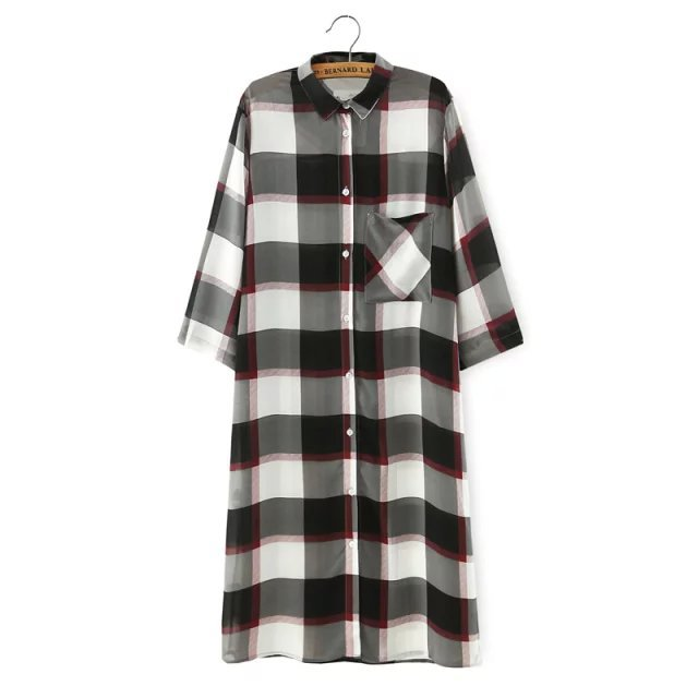 Shirt Dress for Women Fashion Plaid Print pocket half ...
