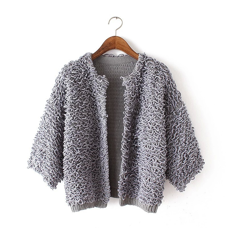Short Cardigan for female Fashion winter gray knitted ...