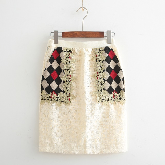 Skirts for Women Vintage Autumn Fashion lace Patchwork ...