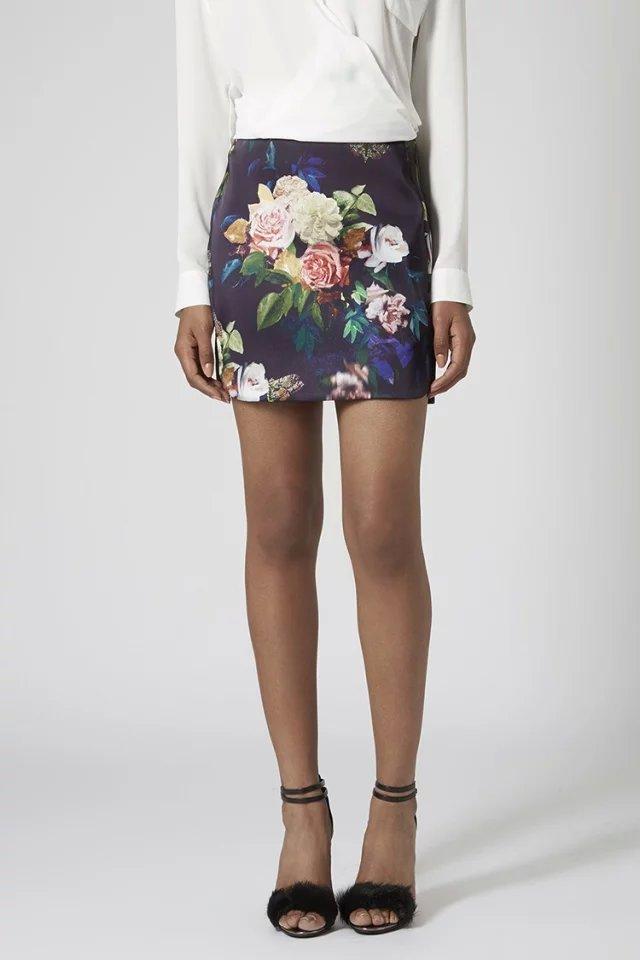 Skirts for Women Vintage Autumn Fashion Satin Floral ...