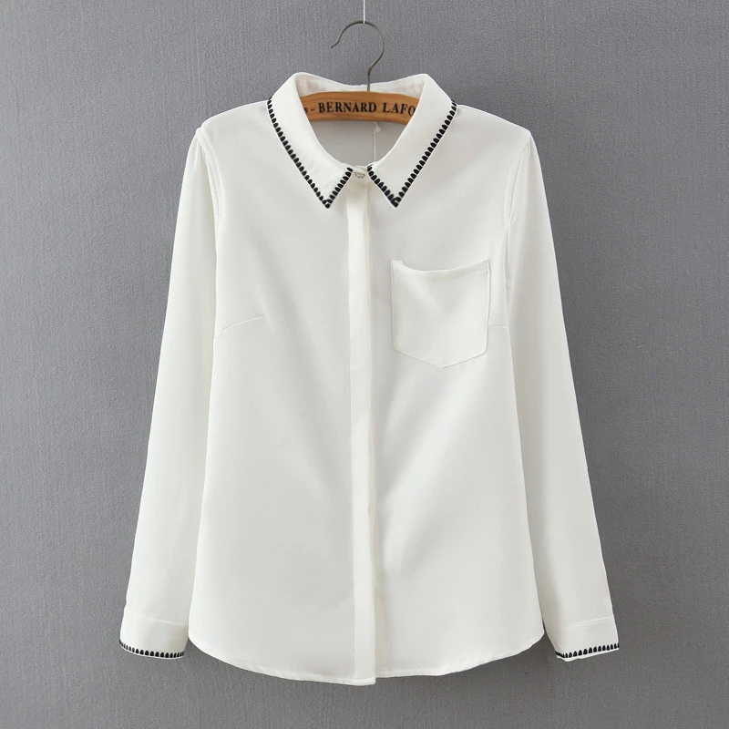 Spring Fashion female elegant Embroidery white blouse ...