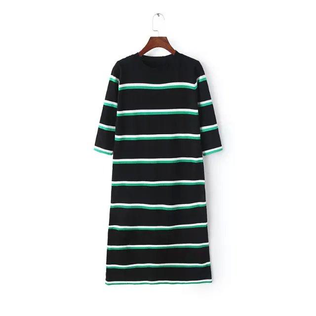 Spring Fashion women elegant black striped pattern knitted ...