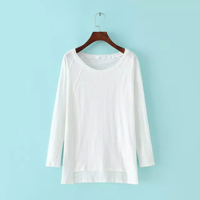 Spring Fashion Women Elegant white cotton T-Shirt O-...