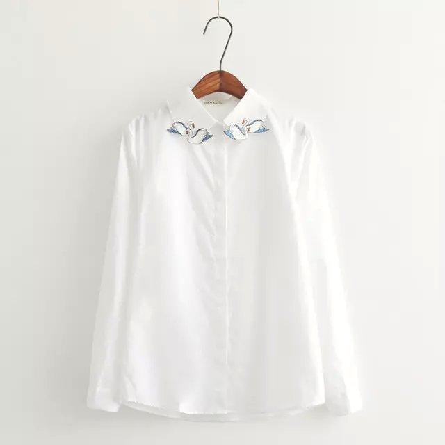 Spring fashion women Swan Embroidery turn-down collar ...