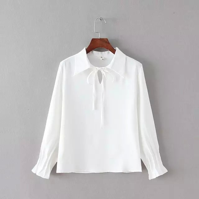 Spring Fashion women sweet bow drawstring white blouse ...